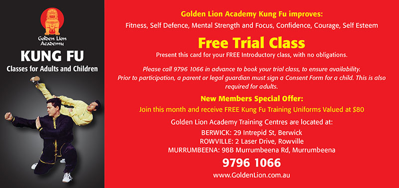 coupon for a kung fu free trial class at golden lion